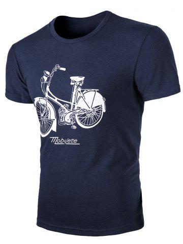 Discount Round Neck Bike Print Short Sleeves T-Shirt For Men