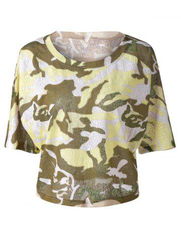 Best Fashionable  Round Collar 3/4 Sleeve Camouflage T-shirt COLORMIX S