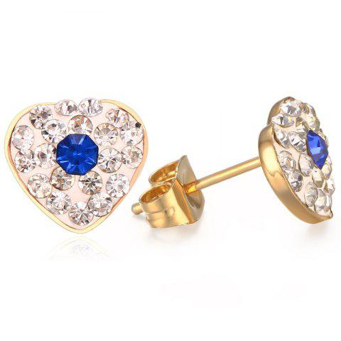 Cheap Pair of Chic Rhinestoned Heart Earrings For Women