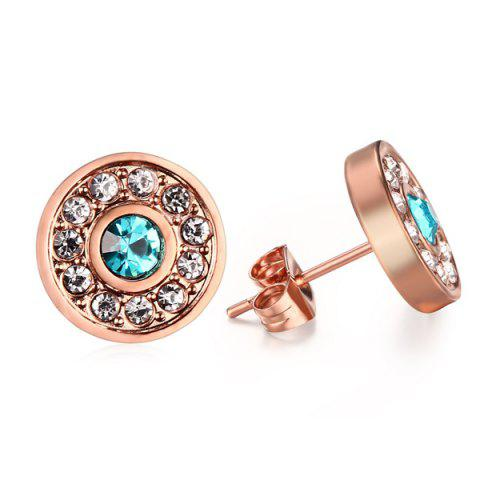 Outfit Pair of Chic Rhinestoned Circle Earrings For Women ROSE GOLD