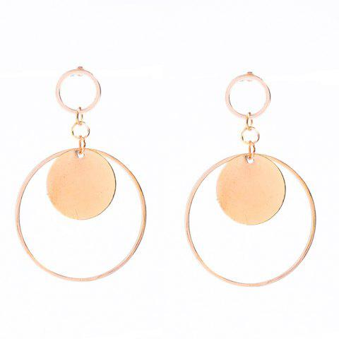 Online Pair of Alloy Circle Round Earrings GOLDEN