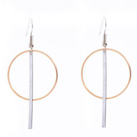 Outfits Pair of Alloy Crossed Stick Circle Drop Earrings
