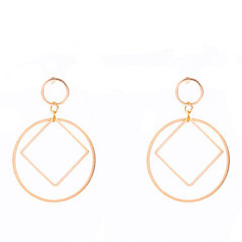 New Pair of Square Circle Hollowed Drop Earrings GOLDEN