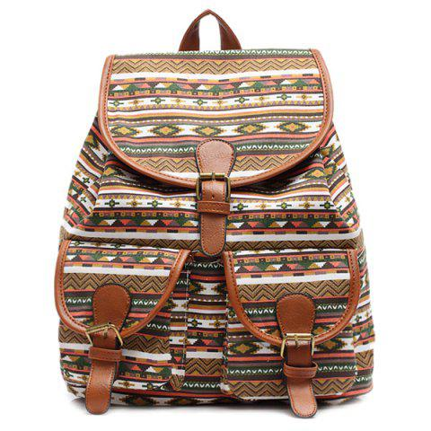 Ethnic Style Buckles and Geometric Print Design Satchel For Women - Brown - One Size(fit Size Xs To M)