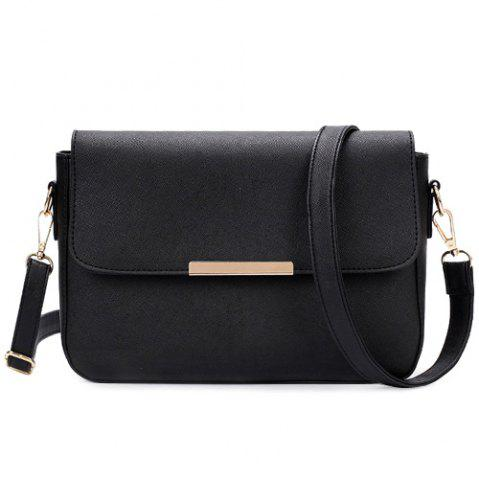 Discount Simple Style Metal and Magnetic Closure Design Crossbody Bag For Women - BLACK  Mobile