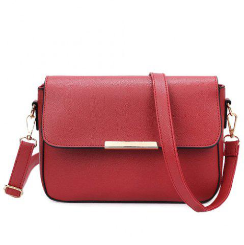 Outfits Simple Style Metal and Magnetic Closure Design Crossbody Bag For Women - WINE RED  Mobile