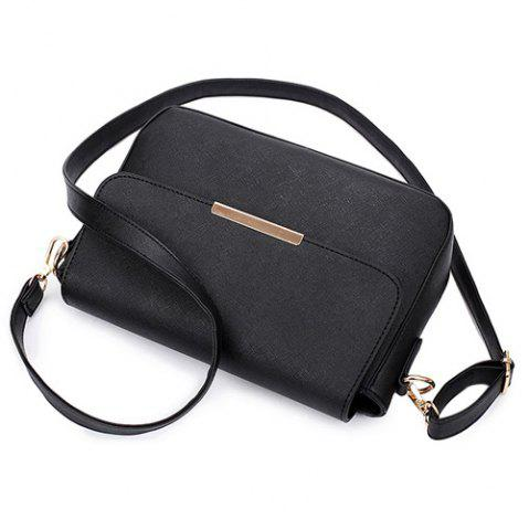 Fashion Simple Style Metal and Magnetic Closure Design Crossbody Bag For Women - WINE RED  Mobile