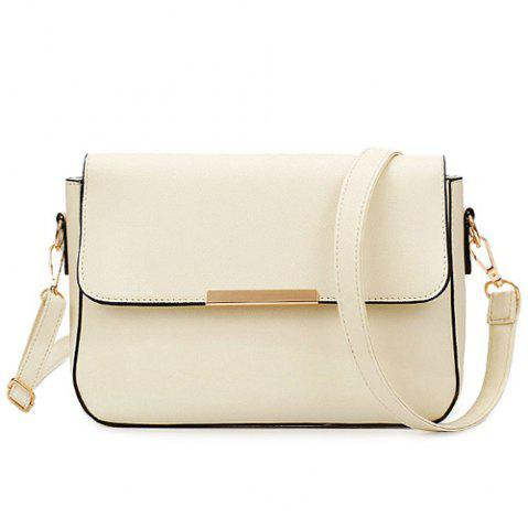 New Simple Style Metal and Magnetic Closure Design Crossbody Bag For Women - OFF-WHITE  Mobile