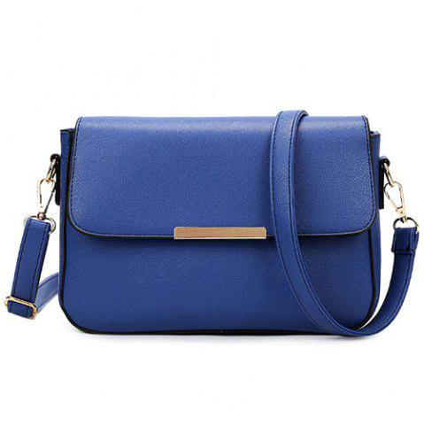 Fashion Simple Style Metal and Magnetic Closure Design Crossbody Bag For Women BLUE