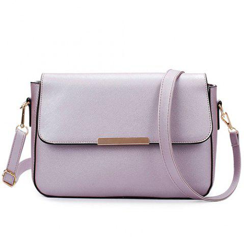 Shops Simple Style Metal and Magnetic Closure Design Crossbody Bag For Women - LIGHT PURPLE  Mobile