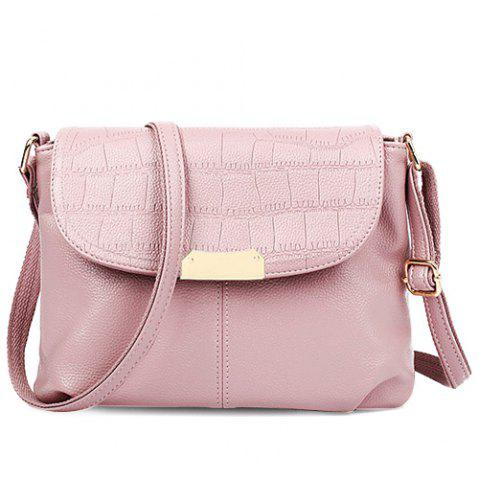 Outfit Stylish Magnetic Closure and Embossing Design Crossbody Bag For Women PINK