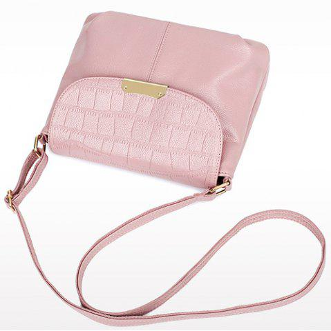 Unique Stylish Magnetic Closure and Embossing Design Crossbody Bag For Women - PINK  Mobile