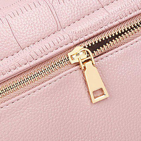 Chic Stylish Magnetic Closure and Embossing Design Crossbody Bag For Women - PINK  Mobile