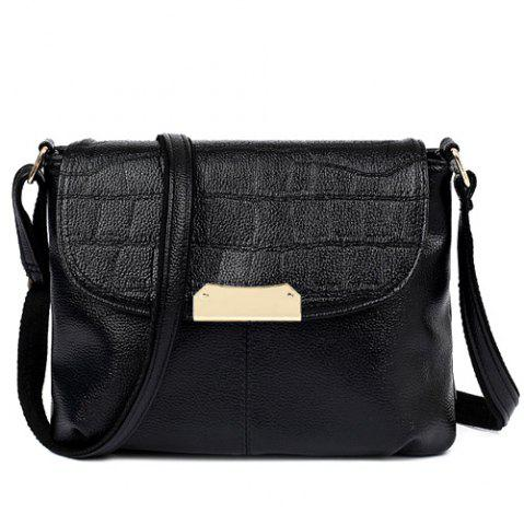 Stylish Magnetic Closure and Embossing Design Crossbody Bag For Women - Black