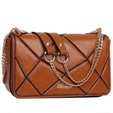 Shops Stylish Geometric and Chains Design Crossbody Bag For Women - BROWN  Mobile