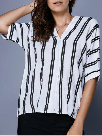 Discount V Neck Striped Button Up Blouse WHITE AND BLACK XL