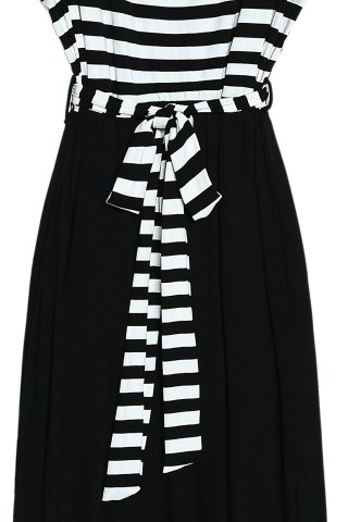 Fashion Maxi Striped Cut Out Sleeveless Summer Dress - S WHITE AND BLACK Mobile