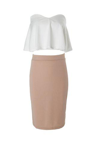 Chic Sexy Strapless Sleeveless Flounced Tube Top + High-Waisted Skirt Women's Twinset