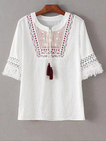 Outfit Stylish Round Neck Half Sleeve Ethnic Embroidery Women's T-Shirt