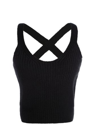 Sale Stylish V Neck Pure Color Cross Halter Women's Tank Top