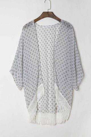 Online Stylish Collarless 3/4 Sleeve Polka Dot Print Women's Kimono