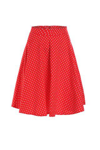 Store Vintage High Waist Polka Dot Printed Ball Skirt For Women