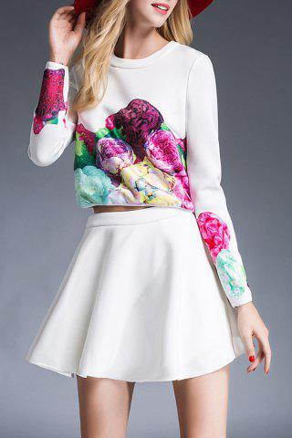 Chic Floral Print T-Shirt and High Waist Solid Color Skirt