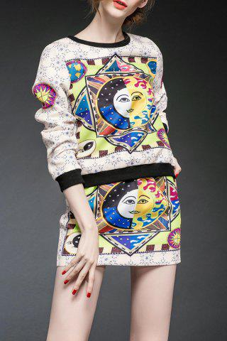 Unique Printed T-Shirt and High Waist Pencil Skirt