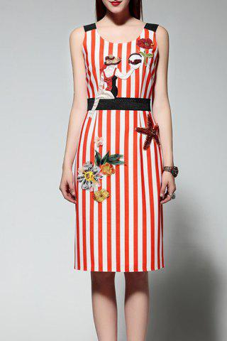 Trendy Sleeveless Embroidered Striped Dress