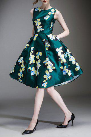 Sale Waisted Corset Clover Print Dress
