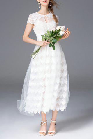 Outfit Keyhole Neck Tulle Dress Twinset