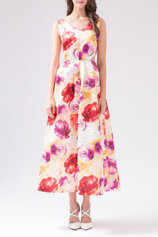 Fashion V Neck Rose Print Hollow Out Maxi Dress