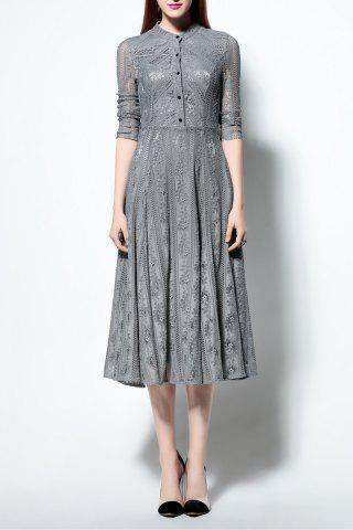 Cheap Solid Color Ruched Lace Dress GRAY 2XL