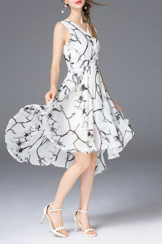 Store High Low A Line Chiffon Print Dress