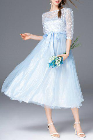Fashion Embroidered Belted Tulle Dress