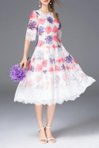 Affordable Floral Print Lace Spliced Midi Dress