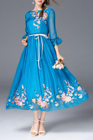 Outfit Floral Embroidered Boat Neck Long Dress