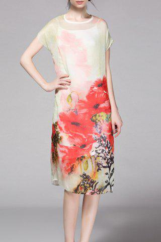 Fashion Floral Print Mid Shift Dress with Tank Top
