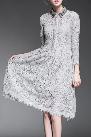 New Beading Lace Dress and Cami Solid Color Tank Top
