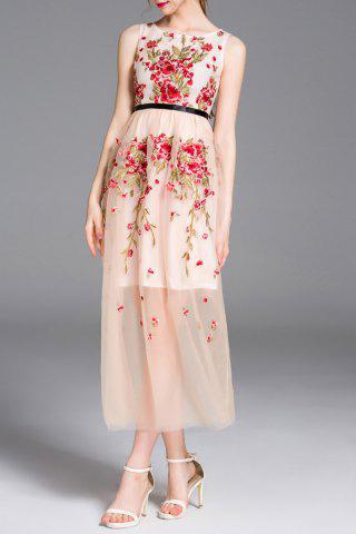 Outfit Round Neck Embroidery High Waisted Dress