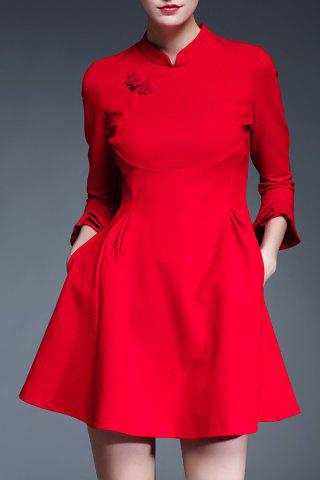 Buy Mandarin Collar Solid Color Dress
