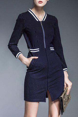 Outfit Side Slit Zippered Striped Dress