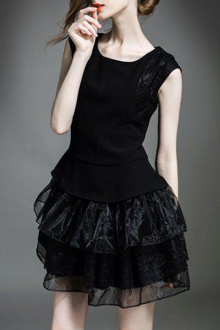 Store Solid Color Tiered Gauze Spliced Dress BLACK XL
