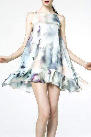 Cheap Spaghetti Strap Print Flounce Dress