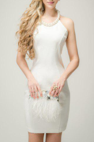 Trendy Jewel Neck Backless Solid Color Sleeveless Dress