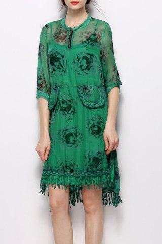 Outfit Stand Collar Printed Fringed Dress