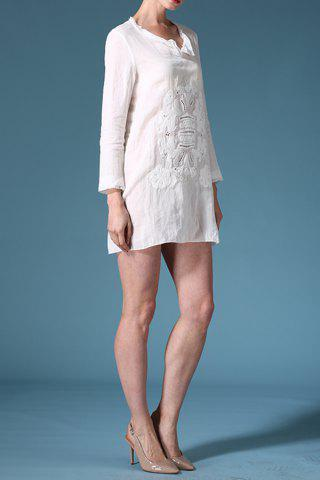 Latest Long Sleeve Embroidery Solid Color Dress