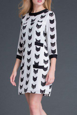 Affordable Round Neck Cartoon Cat Print Dress