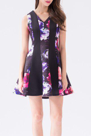 Buy V Neck Rose Print A Line Dress