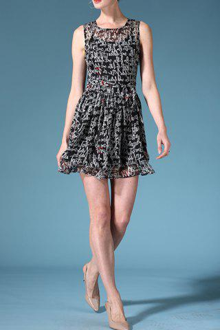 Discount Round Neck Sleeveless Letter Print Belted Dress